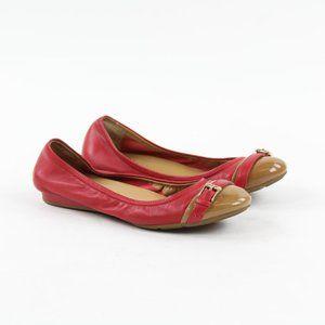 Cole Haan Red Brown Buckle Toe Ballet Flats Sz 7